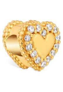 Pingente Life Coração Bolinha Com Banho Ouro Amarelo