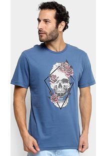 Camiseta Mcd Regular Skull Flower Masculina - Masculino-Azul Claro