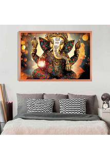 Quadro Love Decor Com Moldura Lord Ganesha Rose Metalizado Grande