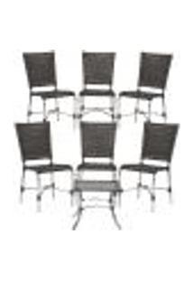 Jogo Cadeiras 6Un E Mesa De Centro Romenia Para Edicula Jardim Area Varanda Descanso - Tabaco