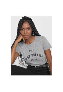 Camiseta Polo Wear Keep Your Dreams Alive Cinza