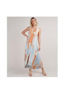 Vestido Feminino Longo Estampado Com Fenda Alça Larga Azul Claro