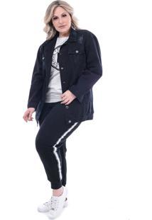 Jaqueta Attribute Jeans Oversized Plus Size Preta