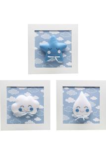 Trio De Quadros Chuva De Amor Quarto Beb㪠Infantil Potinho De Mel Azul - Azul - Menino - Dafiti