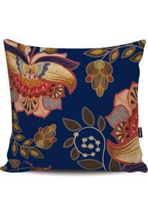 Capa Para Almofada Floral- Azul Marinho & Vermelha- Stm Home