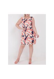 Vestido Médio Estampado Plus Size Feminino Coral