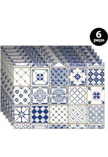 Kit 6Pçs Jogo Americano Mdecore Coqueiros 40X28Cm Azul