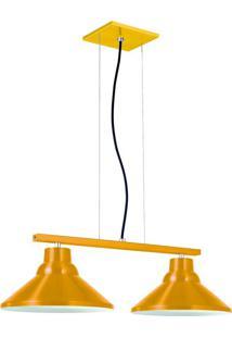 Pendente 6032 Redondo 2 Lâmpadas Amarelo Bivolt Pantoja&Carmona