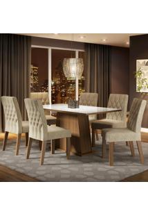 Conjunto Sala De Jantar Madesa Rafaela Mesa Tampo De Vidro Com 6 Cadeiras Marrom - Tricae