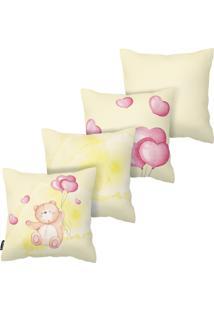 Kit Com 4 Capas Para Almofadas Infantis Urso Armonizzi