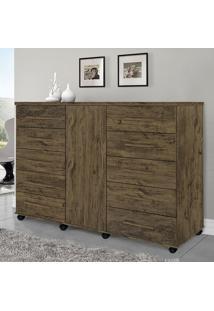 Cômoda Com 10 Gavetas E 1 Porta Titan-Móveis Primus - Amêndoa Wood
