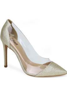 Sapato Scarpin Lara Vinil Dourado