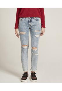 Calça Jeans Feminina Skinny Com Rasgos Azul Claro