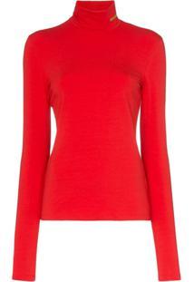 Calvin Klein 205W39Nyc Blusa Slim Gola Alta - Vermelho