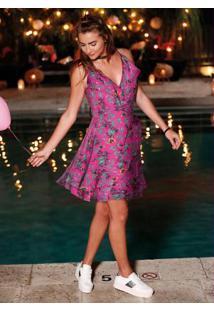 Vestido Transpassado Estampado Rosa