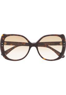 Gucci Eyewear Óculos De Sol Redondo - Marrom
