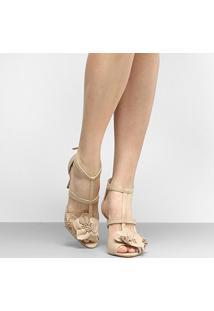 Sandália Couro Shoestock Salto Fino Flores - Feminino-Nude