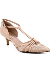Scarpin Couro Shoestock Salomé Tela - Feminino-Nude