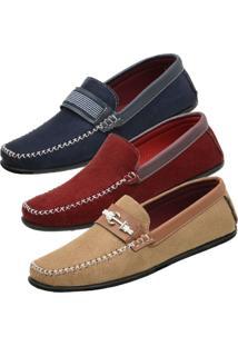 Kit De 3 Pares Mocassim Danyum Shoes Dockside Vermelho