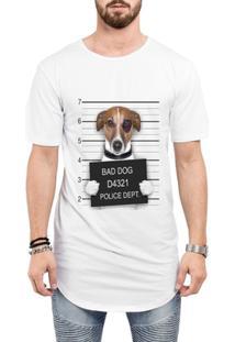 Camiseta Criativa Urbana Long Line Oversized Engraçadas Bad Dog Preso - Masculino-Branco