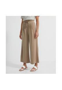 Calça Pantalona Em Modal Com Elástico No Cós E Amarração Com Ponteira
