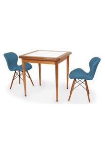 Conjunto Mesa De Jantar Em Madeira Imbuia Com Azulejo + 2 Cadeiras Slim - Turquesa