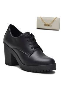 Kit Sapato Oxford Feminino + Bolsa Clutch Branco