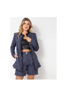 Blazer Elora Textura Feminino Azul