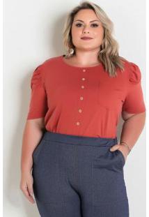 Blusa Terracota Com Bolso E Botões Plus Size