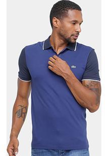 Camisa Polo Lacoste Piquet Bicolor Slim Fit Masculina - Masculino