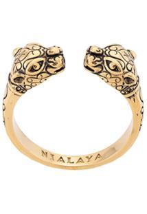 Nialaya Jewelry Anel Com Detalhe De Pantera - Dourado