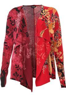 Cardigan Desigual Floral Vermelho/Vinho
