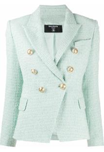 Balmain Jaqueta De Tweed Com Abotoamento Duplo - Verde