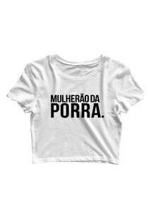 Blusa Blusinha Feminina Cropped Tshirt Camiseta Mulherão Branco