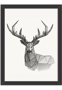 Quadro Decorativo Linedrawing Deer Preto - Grande