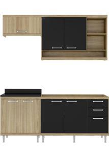 Cozinha 4 Módulos Argila Acetinado Texturizado E Preto Multimóveis