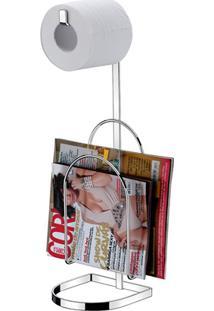 Porta Papel Higiênico Com Suporte Para Revistas Perfezione Cromado