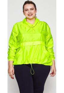 Blusa Almaria Plus Size Wonder Size Corta Vento Neon Giusy Verde Neon - Verde - Feminino - Poliamida - Dafiti