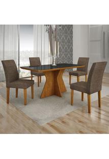 Conjunto De Mesa De Jantar Creta Ii Com 4 Cadeiras Olímpia Linho Preto E Marrom
