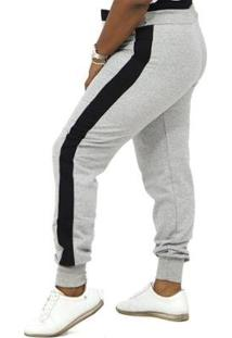 Calça Dpontes Moletom Faixa Lateral Plus Size Inverno Feminina - Unissex