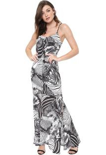Vestido Triton Longo Estampado Branco/Preto