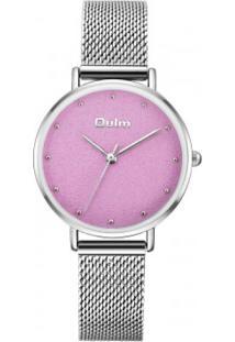 Relógio Lady Oulm Ht3671- Prata E Rosa