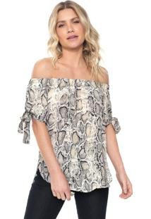 Blusa Lily Fashion Ombro A Ombro Cobra Bege