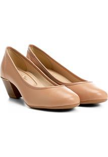 Sapato Azaleia Salto Médio Com Detalhe Metálico - Feminino-Nude