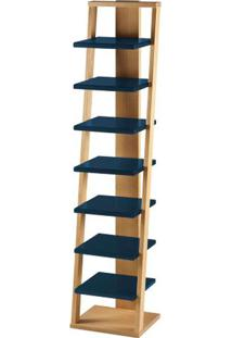 Prateleira Stairway Estrutura Natural Acabamento Azul Petroleo 170Cm - 61111 - Sun House