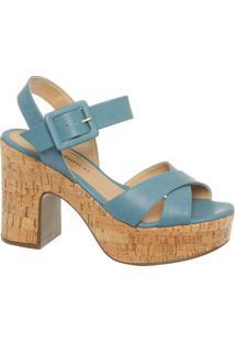 Sandália Meia Pata Azul De Cortiça