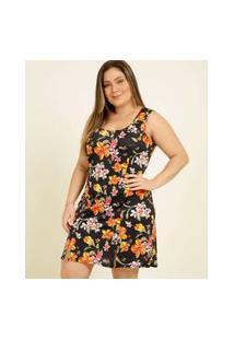 Vestido Plus Size Feminino Estampa Floral Fenda Sem Manga