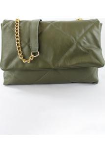 Bolsa Crisfael Couro Matelass㪠Verde Militar - Verde - Feminino - Dafiti