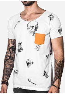 Camisetas Skull Bolso Mostarda Masculina - Masculino-Branco