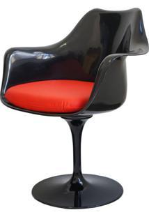 Cadeira Saarinen Preta Com Braco (Almofada Vermelha) -15052 - Sun House